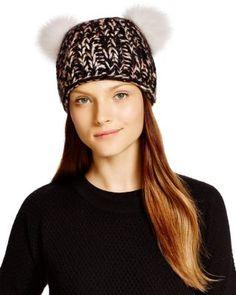 ad9a8d2ee14 Helene Berman Beanie Hat with Veil   Fox Fur Pom Pom ...