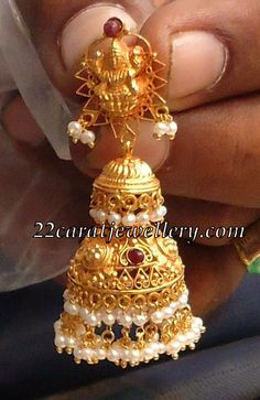 Jewellery Designs: Jumkis with Pearls and Uncut Diamonds