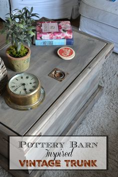 DIY Pottery Barn Inspired Storage Trunk we are using as a coffee table! It was a fairly easy build and a fraction of the cost of the real thing! redcottagechronicles.com