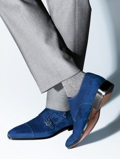 Handmade men monk strap shoes, suede shoes, men blue shoes, formal dress shoes #Handmade #Oxfords