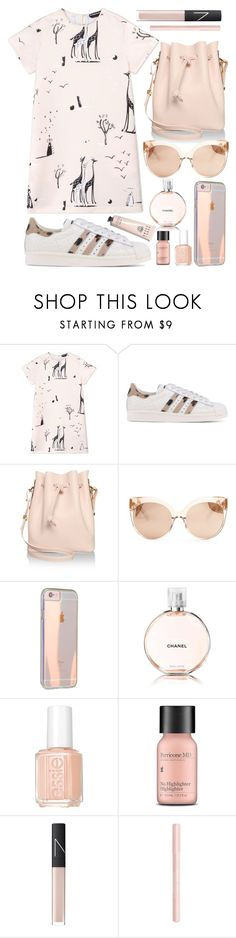 """""""Giraffe Dress"""" by lauraleeanne ❤ liked on Polyvore featuring Rochas, adidas Originals, Sophie Hulme, Linda Farrow, Chanel, Essie, Perricone MD, NARS Cosmetics, Bourjois and Bobbi Brown Cosmetics"""