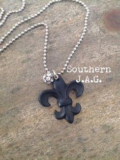 Fleur de lis necklace by southernjaglouisiana on Etsy, $10.00