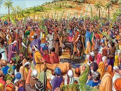 Free Visuals: The Triumphant Entry Jesus rides into Jerusalem on a donkey as the crowd shouts 'Hosanna'. Matthew 21:1-11