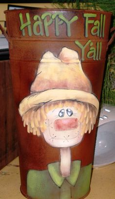 French Bucket Scarecrow Decorative Painting Pattern via Etsy
