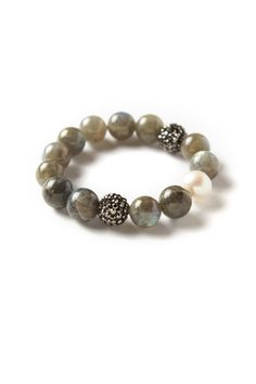 12MM AAA labradorite gemstones 12MM AA freshwater pearls sterling silver spacers 12MM polymer clay pave balls