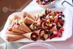 Good party food idea - fruit in icecream cones