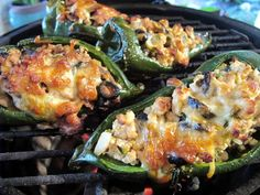 Chicken and Pork Stuffed Poblano Boats on the Big Green Egg