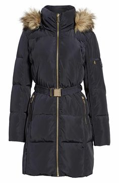 Main Image - MICHAEL Michael Kors Faux Fur Trim Belted Down & Feather Fill Parka Ladies Coats, Coats For Women, Winter Parka, Winter Jackets, Snow Boots, Winter Boots, Down Feather, Parka Coat, Fur Trim