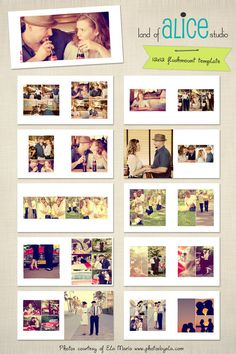 12x12 Photo Album Template  hand drawn frames by landofalicestudio