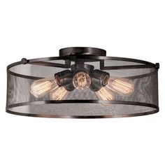 Gastown Semi Flush Ceiling Light | DVI Lighting at Lightology