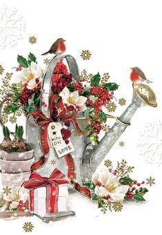 Jonny Javelin Both Of You Christmas Card - Big Watering Can & Robins 9 x Christmas Scenes, Christmas Cards To Make, Xmas Cards, Christmas Greetings, Christmas Holidays, Christmas Crafts, Christmas Decorations, Greeting Cards, Christmas Artwork