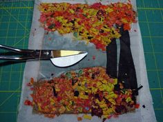 """the process of making art quilts...using tulle to hold down """"confetti pieces"""" of leaves – mulberrypatchquilts"""