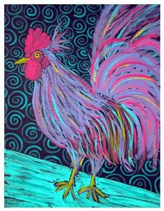 Awesome oil pastel rooster - hate birds but this is too cute and It matches my lil rooster doorstop! ;-)