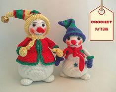 PDF Crochet Pattern for Mommy and Baby Snowman por bvoe668 en Etsy