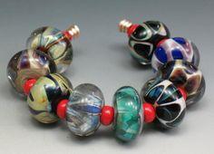 SJC Lampwork 9 handmade silver glass donut beads ~SRA~ USA~ #SJCLampwork #Lampwork