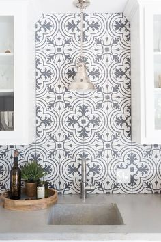Modern Bathroom and Bar Design Ideas, patterned tile, patterned tile ideas, ceramic patterned tile, affordable patterned tile, patterned tile bar, SomerTile, cement countertops,