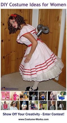Women/'s Blue Cute Wind Up Doll Voodoo Halloween Costume Dress Teen Adult S M L