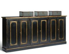 "Sideboard Buffet CABINET 96"" long 8 FEET 8 ft Black & Gold Handmade Hardwood NEW"