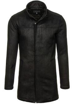 Pánský černý zimní kabát Bolf 3132  Elegantní, jednoduchý, klasický vzhled, se stojáčkem místo límce a skrytým zapínáním