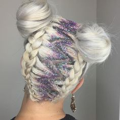Spacebuns, braids, and glitter roots  so super cute.
