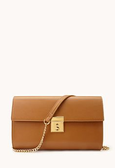 Cognac faux leather clutch - $24