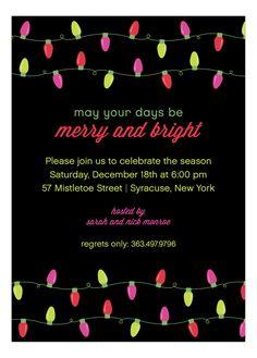 Polka Dot Design Digital Merry Bright Lights Invitation