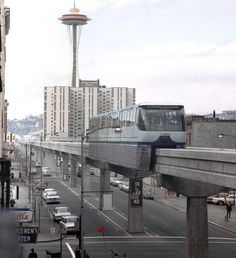 The Space Needle and monorail in Seattle, Washington in 1962, part of the Seattle World's Fair. (AP Photo)