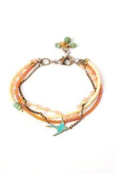 Sand007B Unique handcrafted designer moonstone turquoise antique brass bird focal multistrand bracelet for women