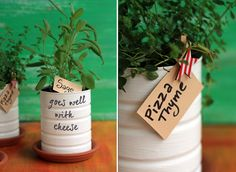 Growing herbs is always cool as you can get fresh greenery all year round and these aromas are just irresistible! By the way, gardening is a very calming . Herb Planters, Herb Pots, Indoor Planters, Container Plants, Container Gardening, Organic Gardening, Gardening Tips, Formula Can Crafts, Diy Herb Garden
