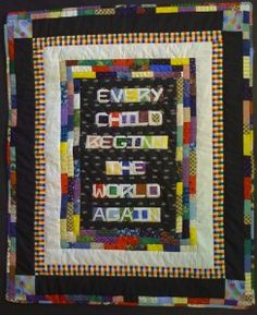 Donna from Quilt in Progress made this quilt.  A beautiful typography project!  She made it in 2010 so it can't be considered an entry (my fault for not being specific!) but it is definitely worthy of our inspiration board.  :)