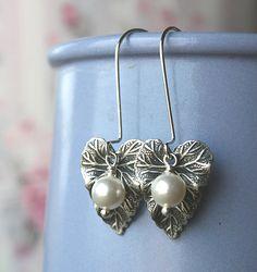 Dangle Earrings Silver Leaf Charm White by lamaisondefloria, €10.00