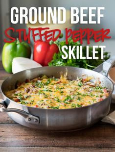beef dishes This super easy Ground Beef Stuffed Pepper Skillet is made in just one pan in less than 30 minutes! All the flavors you love of a stuffed pepper without all the hassle! Ground Beef Recipes Easy, Beef And Rice, Skillet Dinners, Cooking Recipes, Healthy Recipes, Beef Dishes, Casserole Recipes, Skillet Recipes, One Skillet Recipe