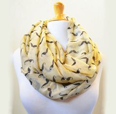 YELLOW moustache patterned cotton scarf  by OriginalDesignsByAR, $12.00