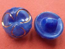 9 GLASKNÖPFE blau 12mm (612-2) kleine Knöpfe Glas