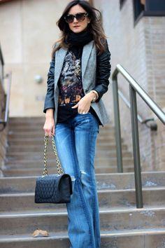 Casual Tweed--Jacket: Zara, Tee: Zara, Jeans: Vigoss (love these!), Shoes: Giuseppe Zanotti, Bag: Chanel, Necklace: Natalie B, Sunnies: Celine, Scarf: m0851
