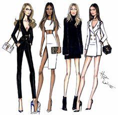 Hayden Williams Fashion Illustrations: Model Behaviour: Cara, Jourdan, Gigi & Kendall by Hayden Williams