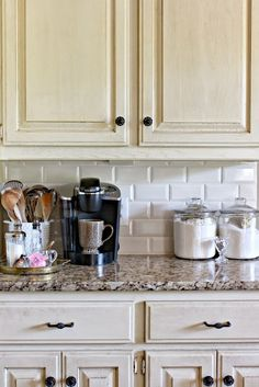 she purchased her tile from Lowes - in Bisque --- Dimples and Tangles: SUBWAY TILE KITCHEN BACKSPLASH