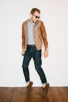 Brown and tan men's varsity jacket.