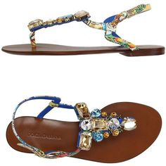 Dolce & Gabbana Toe Post Sandal ($850) ❤ liked on Polyvore featuring shoes, sandals, beige, beige sandals, beige flat shoes, rhinestone shoes, rhinestone flat shoes and dolce gabbana sandals