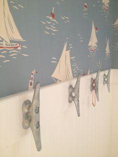 This Old Coconut Grove nautical bathroom. cleat ,sailboat, ralph lauren wallcovering, coastal bathroom, sailing theme,