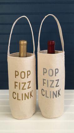 Single Wine/Liquor Tote Bag POP FIZZ CLINK by elizabethandmarin