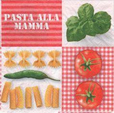 Pays : Serviette papier Pasta mamma 33 cm X 33 cm 3 plis. pour la décoration et les loisirs créatifs avec la technique des serviettes en papier