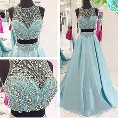 Two Pieces New Design Beading A-Line Prom Dresses,Long Evening Dresses