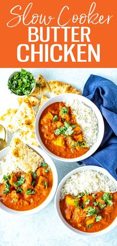This Slow Cooker Butter Chicken is a restaurant-quality dish with tender slow-cooked pieces of chicken. The sauce is packed with flavor! #slowcooker #butterchicken One Pot Dinners, Easy Weeknight Dinners, Best Crockpot Recipes, Slow Cooker Recipes, Basmati Rice Recipes, Crazy Kitchen, Meal Prep Bowls, Butter Chicken, Dinner Tonight