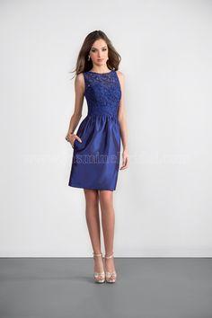 Jasmine Bridal - Jasmine Bridesmaids Style P166061K in Lace/Satin Back Dupioni, color Navy/Navy