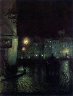 PANKIEWICZ, Józef: Polish painter (b. 1866 Lublin, d. 1940 Marseille): The Old City Market, Warsaw, at Night, 1892. Muzeum Narodowe w Poznaniu, Poznan, Poland.