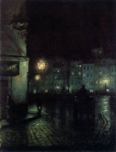 PANKIEWICZ, Józef Polish painter (b. 1866, Lublin, d. 1940, Marseille) The Old City Market, Warsaw, at Night1892
