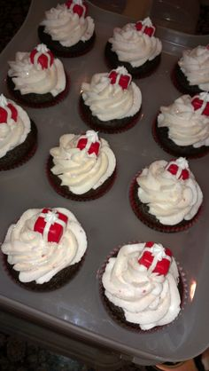 - Chocolate with Peppermint Cream Cheese Cupcakes with Fondant Gift on top