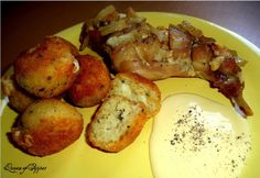 Fokhagymával szalonnával pácolt nyúlcomb sült rizsgolyókkal French Toast, Pork, Potatoes, Dishes, Vegetables, Breakfast, Kale Stir Fry, Morning Coffee, Potato