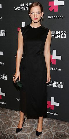 Last Night's Look: Love It or Leave It? | EMMA WATSON | After speaking at the U.N. about gender inequality at the launch of HeForShe, Emma attends the event's afterparty in N.Y.C. in a look that's all business: a Hugo Boss sheath and Roger Vivier heels.